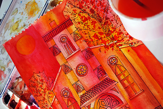 2dreamy watercolor church