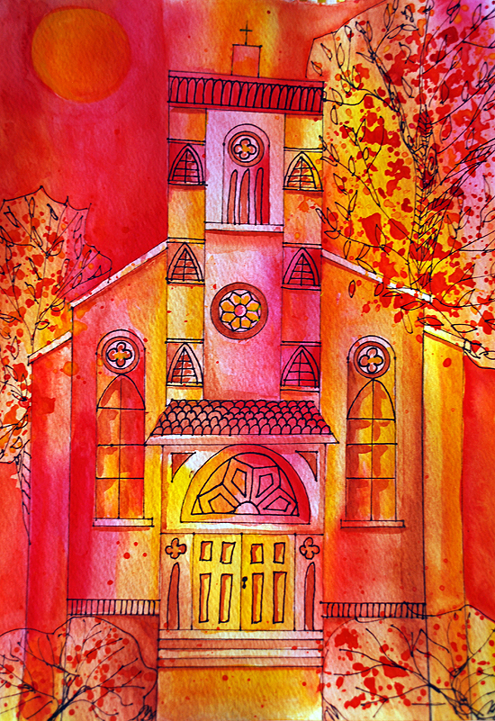 3dreamy watercolor church