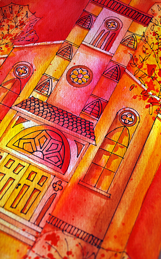 4dreamy watercolor church