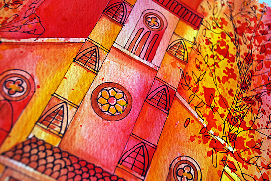6dreamy watercolor church