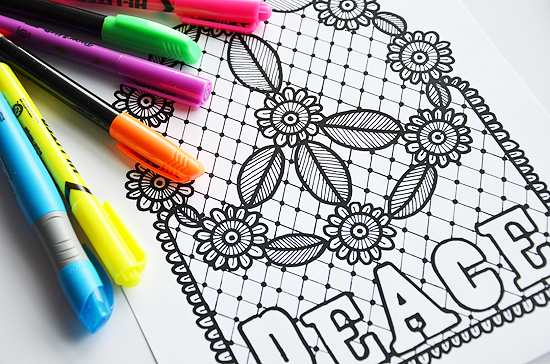 7love peace coloring page